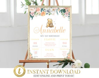 Peach Winnie The Pooh Milestone Poster, Classic Pooh Birthday Poster, Digital Milestone Poster, Editable Milestone Poster, INSTANT DOWNLOAD