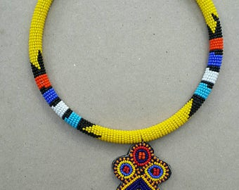 Yellow beaded pendant necklace, handcrafted necklace, hand beaded necklace for women.