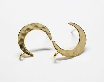 E0221/Anti-Tarnished Matte Gold Plating Over Brass +Sterling Silver Post/Hammered Crescent Stud Earrings/12x17mm(include ring)/1 pairs