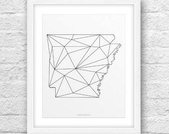 Arkansas Map, Arkansas Print, Arkansas Art, Arkansas State,Minimalist Art, Arkansas Printable,Instant Download, ArkansasLinesArt,ModernLines