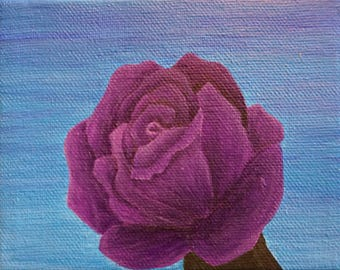 Purple Rose Acrylic Painting on Canvas