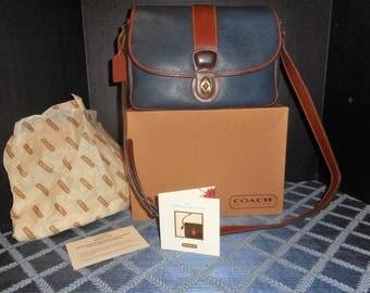 "VINTAGE COACH Large 11.5""X 8.5"" Navy Blue/Brown Sheridan Shoulder Bag w/Hang tag Box"