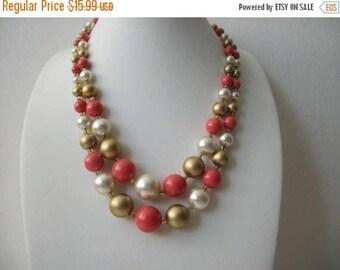ON SALE Vintage 1940s JAPAN Shorter Length Double Strand Plastic Beads Necklace 72517