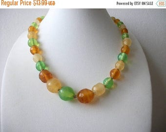 ON SALE Vintage JAPAN Shorter Length 15 Inches Tumbled Glass Necklace 91317