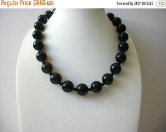 ON SALE Retro Black Plastic Beads Shorter Length 15 Inch Necklace 82016