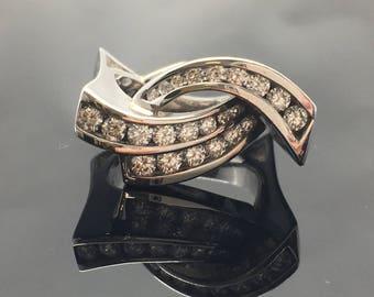14K White Gold Channel Set Diamond Free Form Ring - Modern Three Row Diamond Anniversary Ring - 14K Free Form Diamond Ring -14K Diamond Ring