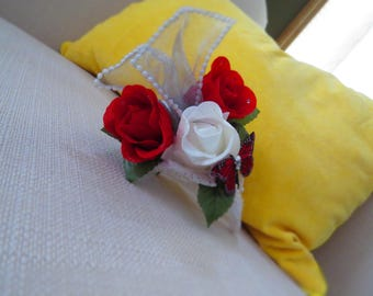 Red Roses and Butterfly Bridal Clip On Fascinator