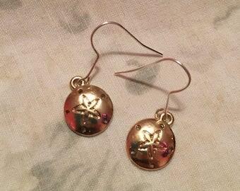 Bronze/Silver Sand Dollar Dangle Earrings