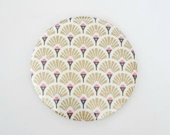 Pocket mirror 75 mm Japanese pattern, gold and white, creating MLP Pocket mirror