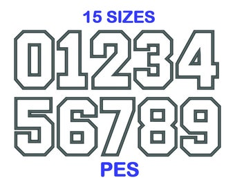 Applique Embroidery Sports Number Set - 15 Size - PES Format Embroidery Numbers - Embroidery 0 to 9 - Machine Embroidery Designs Patterns