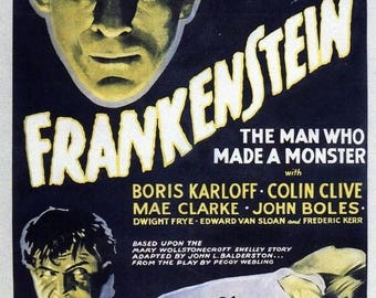 Back to School Sale: FRANKENSTEIN Movie Poster Horror Vampires Universal Monsters