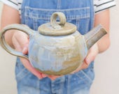 Handmade One Person Teapot - Blue Brown Glaze - *SECOND*- Ready to Ship