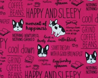 1/2 yard Kokka Ecole Simple | French BullDog | 100% Cotton Canvas | 43300-301-B Raspberry | Japanese Import