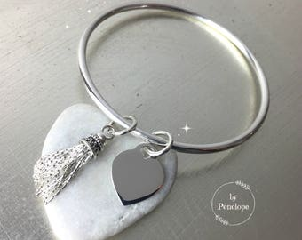 Bangle Bracelet with tassel and heart in silver 925th