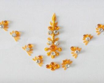 Orange wedding bindi,Long tikka headpiece sticker bindi,Silver-Orange rhinestone forhead bindi,Fake nose stud,Eyebrow decoration bindi,USA