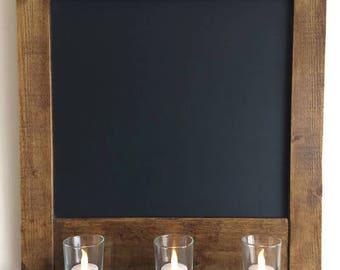 Rustic Chalkboard, Framed Blackboard, Wedding Chalkboard, Reclaimed Wood, Tealight Candles & Glass Holders Votives, Waxed, Handmade
