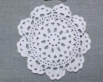 "1 Dozen (12 pcs) 3.5"" Round Medallion White Cotton Crochet Lace Coaster Doily Doilies Bulk Lot"