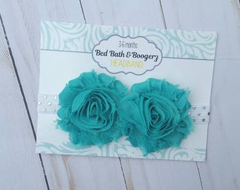 Turquoise Baby Headband- turquoise and silver, baby head band, shabby flower headband, cake smash photo prop, baby shower gift, baby girl