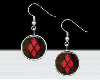 """Harley Quinn Dangle Earrings - Comic Book Jewelry  - Comic Villains - Harleen Quinzel Jewelry - 16mm or 5/8"""" Charms on 18mm Fish Hook Posts"""
