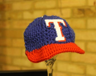 Baby BASEBALL Hat, Kids Ball Cap, Baby baseball gifts, Texas RANGERS inspired (Handmade by me and not affiliated with the MLB)