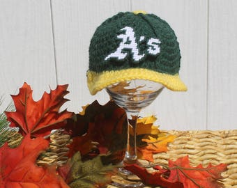 Baby BASEBALL Hat, Kids Ball Cap, Baby baseball gifts, Oakland A's inspired (Handmade by me and not affiliated with the MLB)