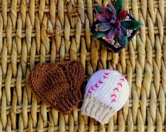 Baseball and GLOVE mittens, baby BASEBALL mittens, knitted baseball and glove MITTENS, newborn baby baseball mittens