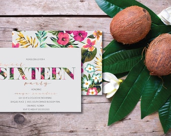 Chic Tropical Sweet Sixteen DIY Printable Party Invitation