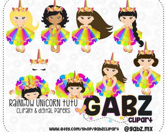 Rainbow Unicorn Tutu, Clipart, Digital Paper, Birthday Girl, Tutu, Girl, Gabz