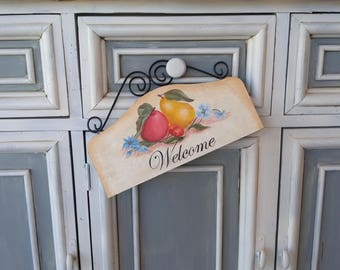 Red Apple Pear Indoor Outdoor Small Welcome Sign - Kitchen and Front Door American Folk Art Sign - One of A Kind New Home Housewarming Gift