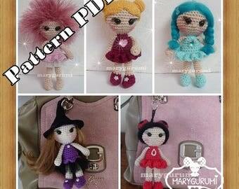 Crochet Pattern, pattern, tutorial, Amigurumi doll, bag charm