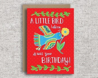 Sweden greeting card etsy a little bird told me it was your birthday birthday card funny birthday bookmarktalkfo Choice Image