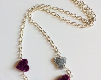 Sale | Hearts |  Valentine | Glitter | Love | Rainbow | Charm | Necklace