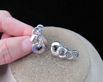 Vintage Pair Of Signed Monet Chain Link Clip Earrings