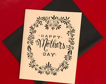 black and white hand lettered Mother's Day card