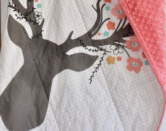 Woodland Baby Quilt, Woodland Nursery, Modern Quilt, Minky, Blanket, deer, fawn, doe, going stag, coral, gold, floral