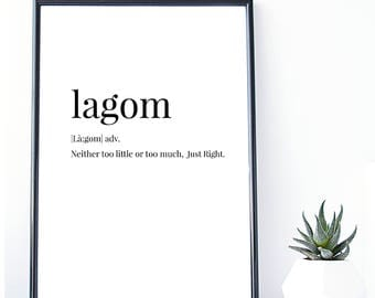 Lagom Definition Print | Swedish Art | Instant Download | Modern Print | Minimal Print | Wall Decor | Typography Poster | Gift for her