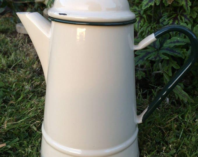 "Enamelware Coffee Pot, Ivory Cream Dark Racing Green Trim, 2 pint capacity, 8.5"" x 7.5"", Excellent Clean Vintage Condition"