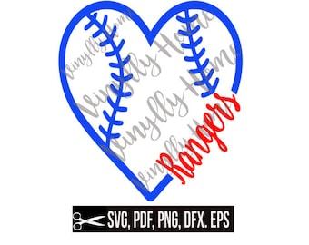 Rangers Baseball Heart SVG , PNG, pdf, dxf, eps; Rangers Cutting File; Baseball svg; heart svg; baseball love svg; ranger love svg