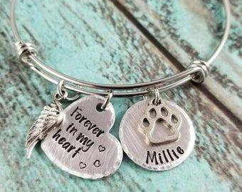 Pet memorial bracelet, pet memorial bangle, lost pet keepsake, dog memerial, cat memorial, furbaby memorial bracelet, stamped memorial gift