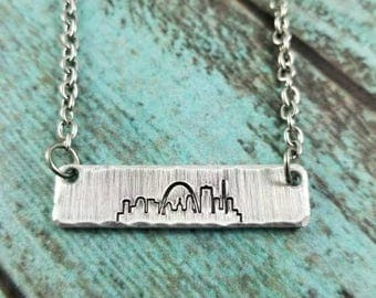 St. Louis skyline bar necklace, STL bar necklace, STL skyline, bar necklace, handstamped St. Louis skyline necklace, Missouri necklace
