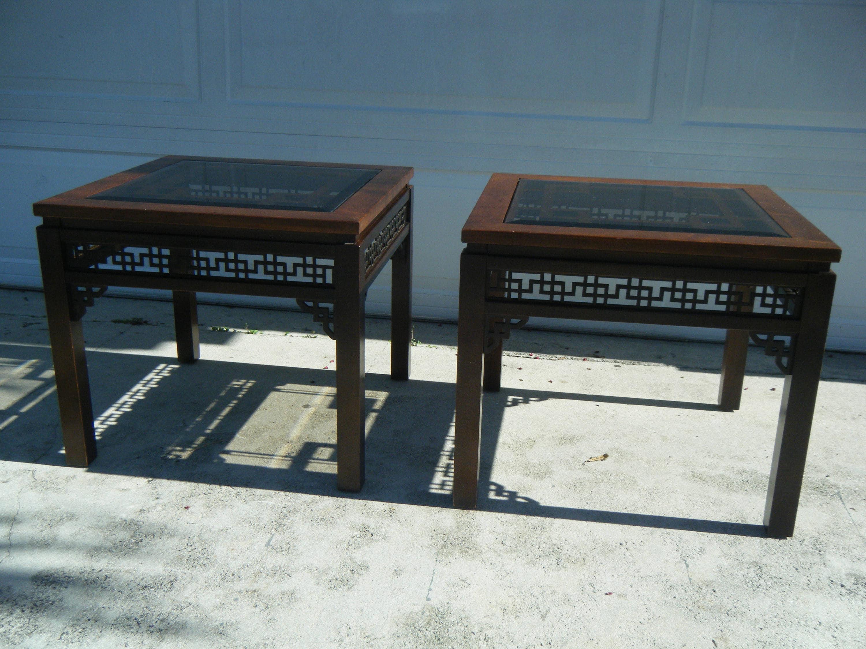 Pair Of Vintage Gordonu0027s Fine Furniture Chinese Chipendale Fretwork End  SideTables