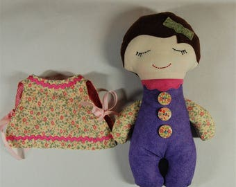 Darling Button Down Doll with Pinafore - girl // gift // matching set // birthday gift // rag doll // stuffed doll // baby doll