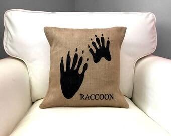 Beaver Pawprint Pillow, Burlap Pillow, Woodland Nursery Decor, Lodge Decor, Cabin Decor, Beaver Silhouette
