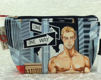 Firefighters Zip Case Bag Pouch fabric Ready For Action Alexander Henry Handmade in England