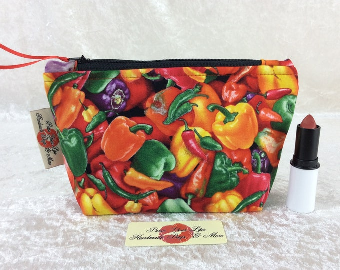 Chillis and Peppers Zip Case Bag Pouch fabric ladybugs Handmade in England