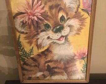 Vintage 1960s Cute Kitsch Baby Animal Tiger Framed Print Childrens Nursery