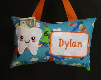 Tooth Fairy Pillow, Boy's Tooth Fairy Pillow,Personalized Tooth Fairy Pillow,Airplane Tooth Fairy Pillow, Airplane Pillow