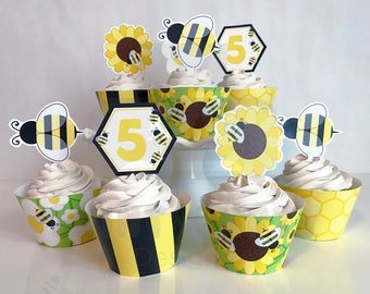 Printable Bumble Bee Cupcake Toppers and Wrappers, Bumble Bee Birthday Party, Bumble Bee Cupcakes, Edit Yourself, Instant Download