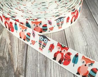 Boho ribbon - Fox ribbon - Own ribbon - Boho animal ribbon - Animal ribbon - Trendy ribbon - Craft supply - Grosgrain ribbon - Pretty ribbon
