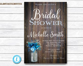 Rustic Bridal Shower Invitation, Rustic Invitation, Blue Shower invitation, Flower Invitation, Bridal Shower Invite, Bridal Shower Template